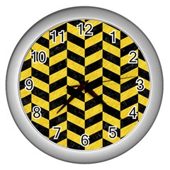 Chevron1 Black Marble & Yellow Colored Pencil Wall Clocks (silver)  by trendistuff