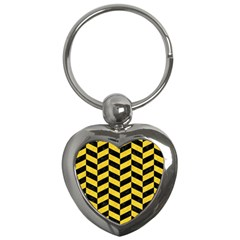 Chevron1 Black Marble & Yellow Colored Pencil Key Chains (heart)  by trendistuff
