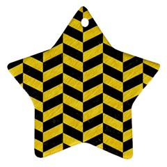 Chevron1 Black Marble & Yellow Colored Pencil Star Ornament (two Sides) by trendistuff