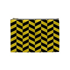 Chevron1 Black Marble & Yellow Colored Pencil Cosmetic Bag (medium)  by trendistuff