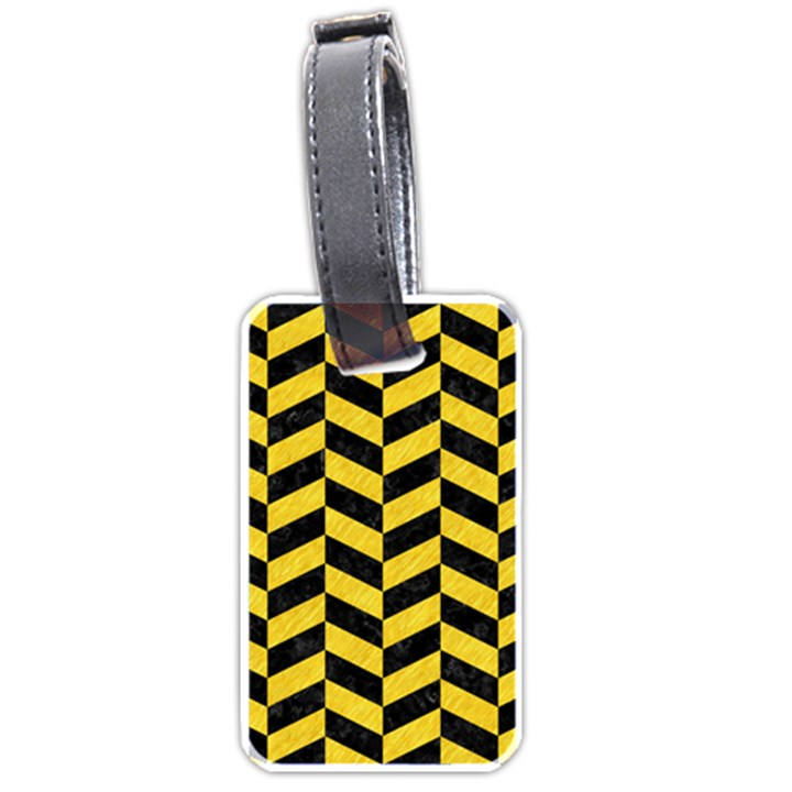 CHEVRON1 BLACK MARBLE & YELLOW COLORED PENCIL Luggage Tags (One Side)