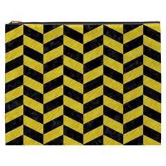 Chevron1 Black Marble & Yellow Colored Pencil Cosmetic Bag (xxxl)  by trendistuff