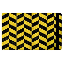 Chevron1 Black Marble & Yellow Colored Pencil Apple Ipad 2 Flip Case by trendistuff