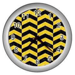 Chevron2 Black Marble & Yellow Colored Pencil Wall Clocks (silver)  by trendistuff