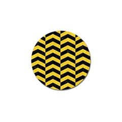 Chevron2 Black Marble & Yellow Colored Pencil Golf Ball Marker (10 Pack) by trendistuff