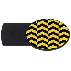 Chevron2 Black Marble & Yellow Colored Pencil Usb Flash Drive Oval (4 Gb) by trendistuff