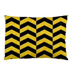 Chevron2 Black Marble & Yellow Colored Pencil Pillow Case by trendistuff