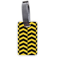 Chevron2 Black Marble & Yellow Colored Pencil Luggage Tags (one Side)  by trendistuff