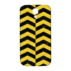 Chevron2 Black Marble & Yellow Colored Pencil Samsung Galaxy S4 I9500/i9505  Hardshell Back Case by trendistuff