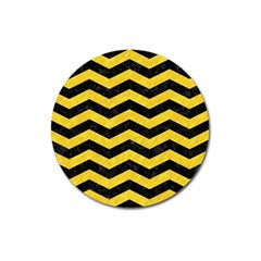 Chevron3 Black Marble & Yellow Colored Pencil Magnet 3  (round) by trendistuff