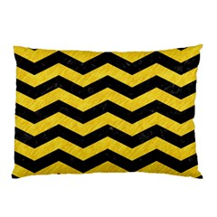 Chevron3 Black Marble & Yellow Colored Pencil Pillow Case (two Sides) by trendistuff