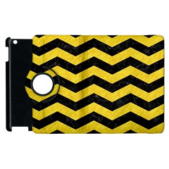Chevron3 Black Marble & Yellow Colored Pencil Apple Ipad 2 Flip 360 Case by trendistuff