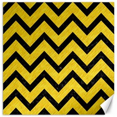 Chevron9 Black Marble & Yellow Colored Pencil Canvas 16  X 16   by trendistuff