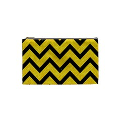 Chevron9 Black Marble & Yellow Colored Pencil Cosmetic Bag (small)  by trendistuff