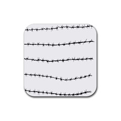 Barbed Wire Black Rubber Square Coaster (4 Pack)