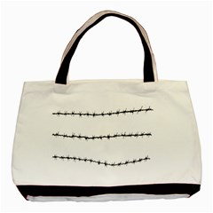 Barbed Wire Black Basic Tote Bag (two Sides) by Mariart