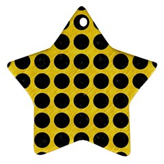 Circles1 Black Marble & Yellow Colored Pencil Ornament (star) by trendistuff
