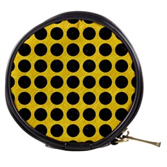 Circles1 Black Marble & Yellow Colored Pencil Mini Makeup Bags by trendistuff