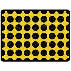 Circles1 Black Marble & Yellow Colored Pencil Fleece Blanket (large)  by trendistuff