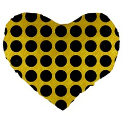 Circles1 Black Marble & Yellow Colored Pencil Large 19  Premium Heart Shape Cushions by trendistuff