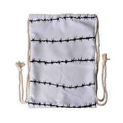 Barbed Wire Black Drawstring Bag (small) by Mariart