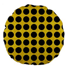 Circles1 Black Marble & Yellow Colored Pencil Large 18  Premium Flano Round Cushions by trendistuff