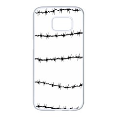 Barbed Wire Black Samsung Galaxy S7 Edge White Seamless Case
