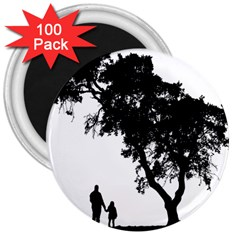 Black Father Daughter Natural Hill 3  Magnets (100 Pack) by Mariart