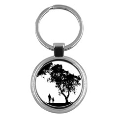 Black Father Daughter Natural Hill Key Chains (round)  by Mariart