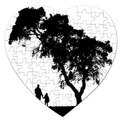 Black Father Daughter Natural Hill Jigsaw Puzzle (heart) by Mariart