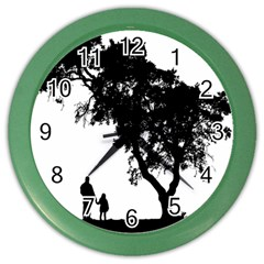 Black Father Daughter Natural Hill Color Wall Clocks
