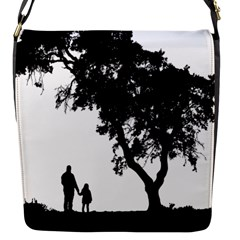 Black Father Daughter Natural Hill Flap Messenger Bag (s) by Mariart