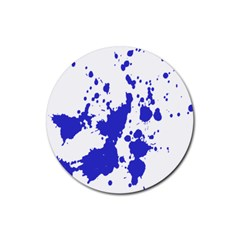 Blue Plaint Splatter Rubber Round Coaster (4 Pack)  by Mariart