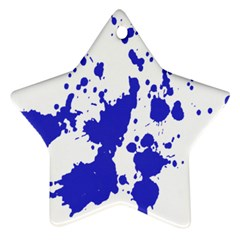 Blue Plaint Splatter Star Ornament (two Sides)