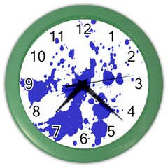Blue Plaint Splatter Color Wall Clocks by Mariart