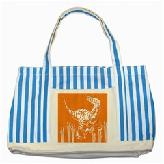 Animals Dinosaur Ancient Times Striped Blue Tote Bag