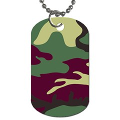 Camuflage Flag Green Purple Grey Dog Tag (one Side)