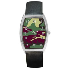 Camuflage Flag Green Purple Grey Barrel Style Metal Watch by Mariart