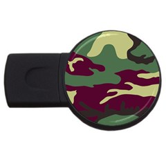 Camuflage Flag Green Purple Grey Usb Flash Drive Round (4 Gb) by Mariart