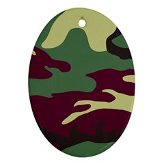 Camuflage Flag Green Purple Grey Oval Ornament (two Sides) by Mariart
