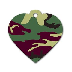 Camuflage Flag Green Purple Grey Dog Tag Heart (two Sides)