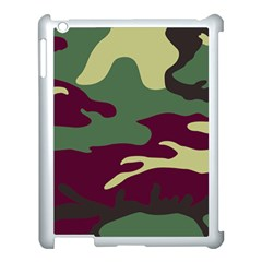 Camuflage Flag Green Purple Grey Apple Ipad 3/4 Case (white) by Mariart