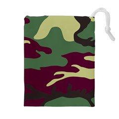 Camuflage Flag Green Purple Grey Drawstring Pouches (extra Large)