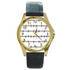Barbed Wire Brown Round Gold Metal Watch by Mariart
