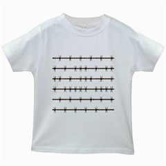 Barbed Wire Brown Kids White T Shirts by Mariart