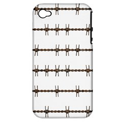 Barbed Wire Brown Apple Iphone 4/4s Hardshell Case (pc+silicone) by Mariart