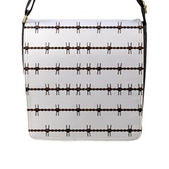 Barbed Wire Brown Flap Messenger Bag (l)  by Mariart