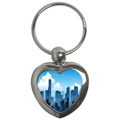 City Building Blue Sky Key Chains (heart)