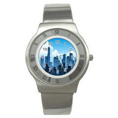 City Building Blue Sky Stainless Steel Watch by Mariart