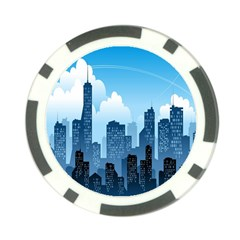 City Building Blue Sky Poker Chip Card Guard